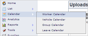 Main Menu - Worker Calendar